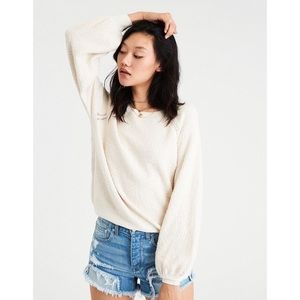 AW cream colored balloon sleeve pullover
